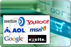 a collection of logos of some of marketing partnerships including Google and Yahoo